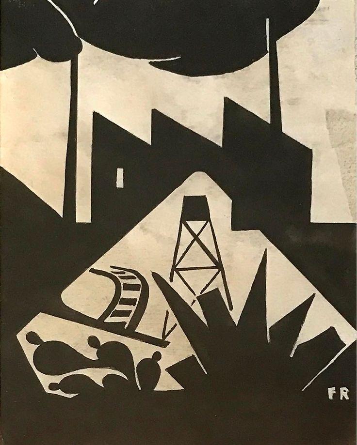 "Fermin Revueltas ""Nacionalismo Industrial"" 1920s #ferminrevueltas #tinta #papel #revueltas #20s #fineart #modernismo #modern #modernism #progress #inkonpaper #paper #artemoderno #nacionalismo #industrial #art #political #artschool #composition #progreso #composicion #vanguardia #industry #oil #train #design #abstraction #national #campo"