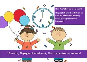 New Year's Spelling Packet! Enter for your chance to win 1 of 5.  10 words related to New Years Day -20 activities of NO PREP word work-40 pgs (40 pages) from SpellingPackets com on TeachersNotebook.com (Ends on on 12-31-2014)  New Year's Spelling Packet for five (5) winners!   10 word packet with over 20 activities.  Also check out our store wide 50% off sale from 12/23 to 12/26... it's only once a year as our way of saying Happy Holidays!