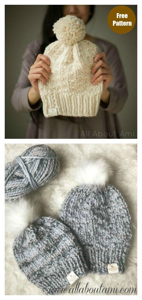 Chunky Dotty Beanies Free Knitting Pattern Freeknittingpattern Knittingpatterns Beaniehat Knittinghats