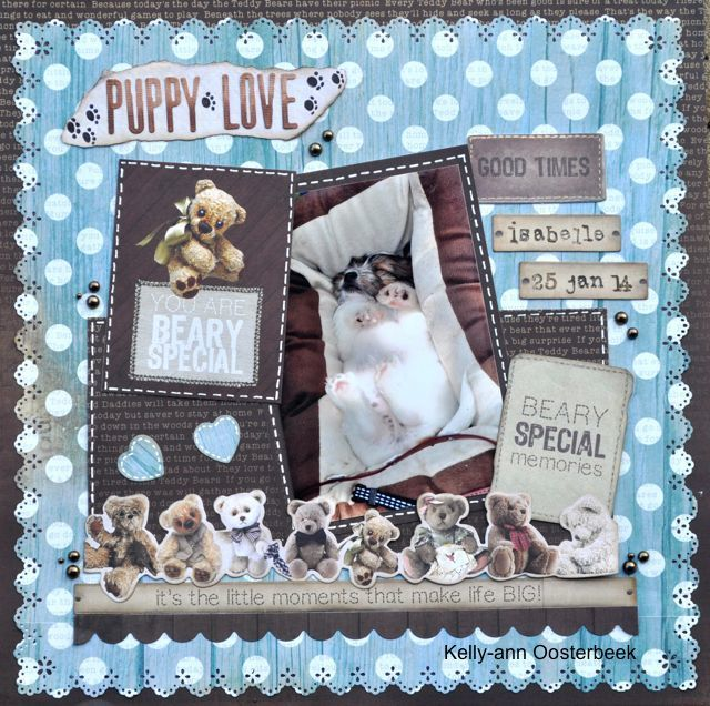 A Layout made using the Teddy Bear's Picnic Collection from kaisercraft by Kelly-ann Oosterbeek.