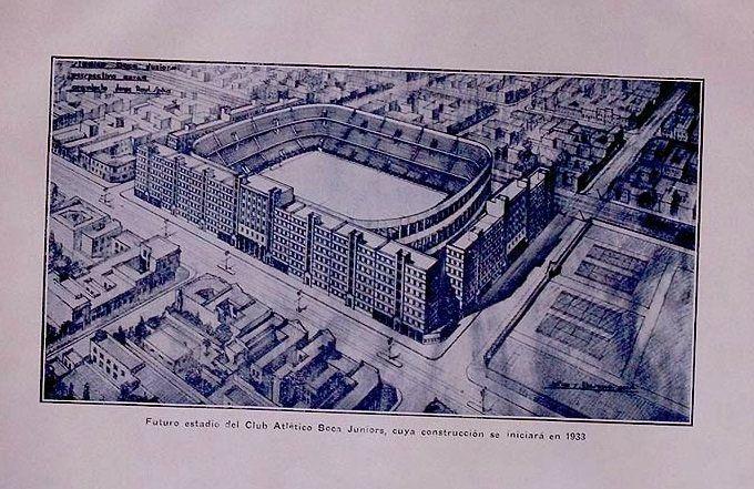 """Futuro estadio del Club Atlético Boca Juniors"" MyB de AFA (1932). Así se proyectaba La Bombonera."