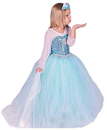 Vestido enterizo para niña princesa ELSA y ANNA Tamaño de 2 a 8 años.  Buena Calidad Vestido Niñas Disfraz de Princesa de ELSA & ANNA.  Adecuado para Trajes de Fiesta y Bailan Vestidos.  Disponible en color azul.