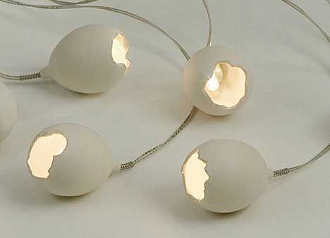 Egg by Tomer Sapir: Slip cast porcelain set of lights barefootstyling.com