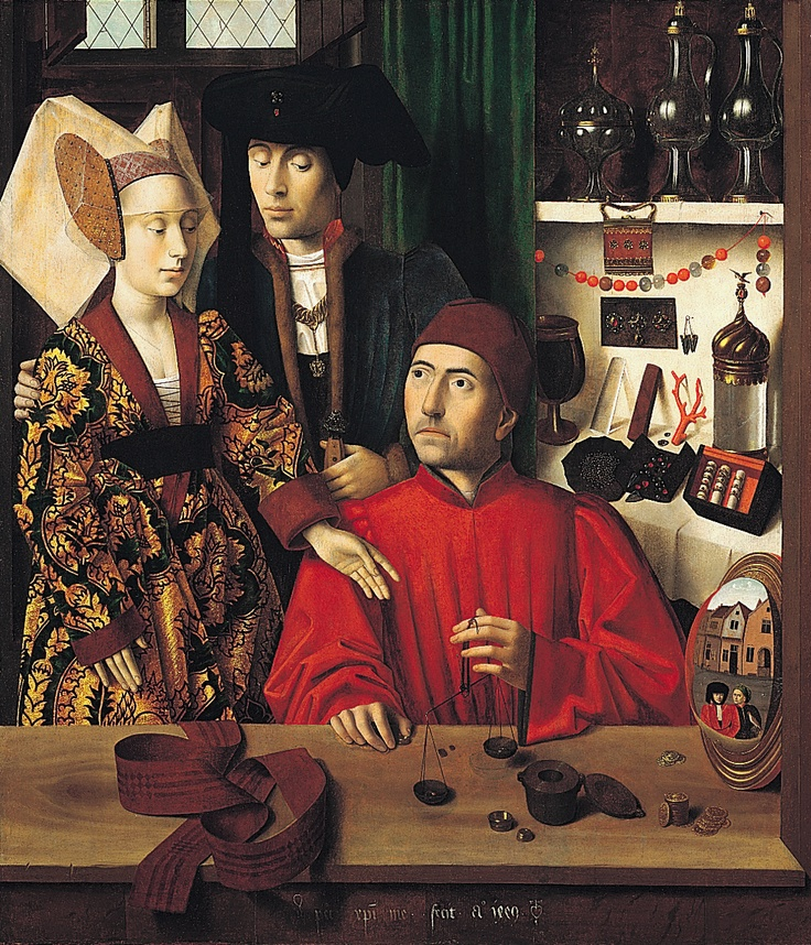 """One of those fabulous """"ordinary"""" scenes from Flemish art, around 1450, of a couple in a jeweller's/goldsmith's shop. Marvel at the almost photographic detail (sigh)."""