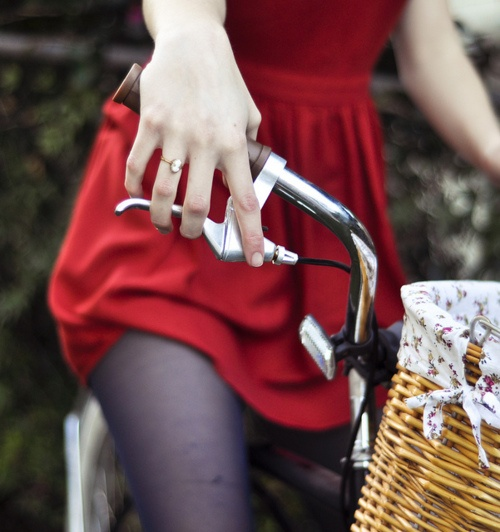 love this!Bicycles, Style, Red Dresses, Vintage Bikes, Rings, Baskets, People, Photography, Engagement Announcements