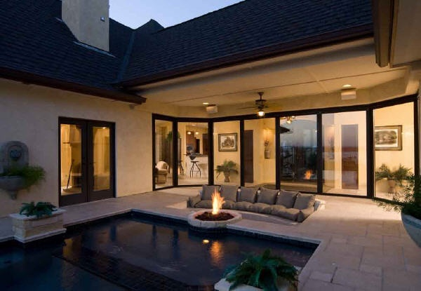 love the sunken couch, fire pit and pool!