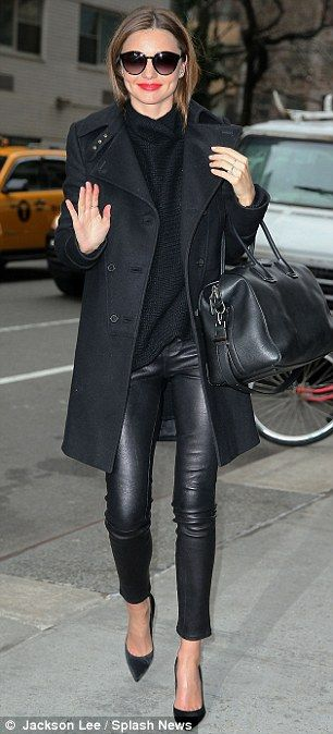 Must have these tight black leather cigarette pants on Miranda Kerr.  Love this look.