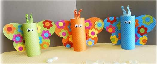 recycling paper craft ideas for kids, toilet rolls butterflies decorations