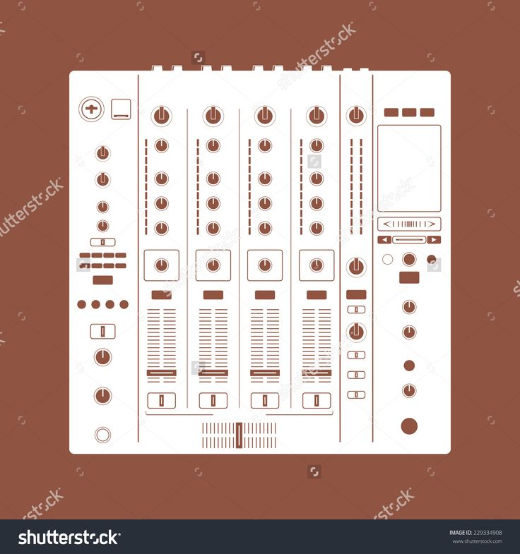 Recording Mixer. Dj icon. Dj console mix handles and buttons, Vector illustration