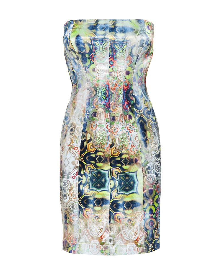 Printed strapless day dress, available on www.46664fashion.com
