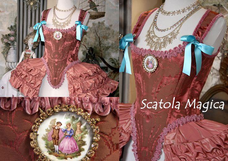 Corsetto e gabbietta 1700 in seta by Scatola Magica