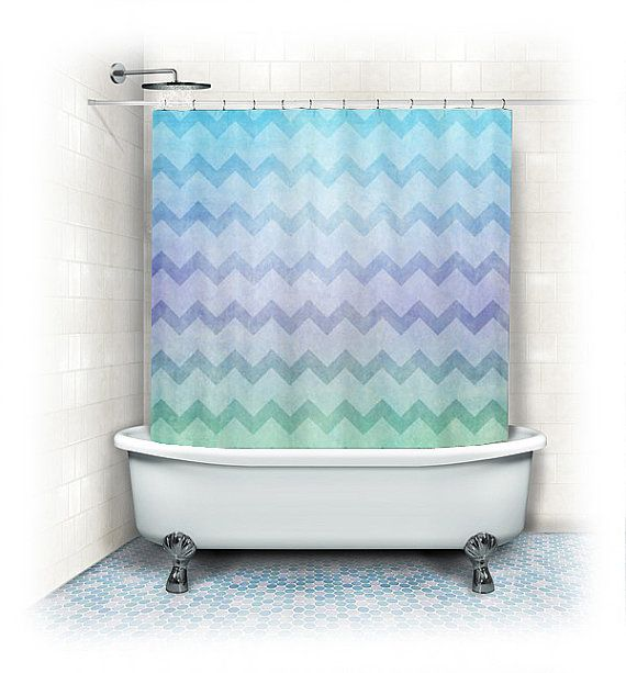 Chevron fabric shower curtain under the sea aqua home for Aqua blue bathroom accessories