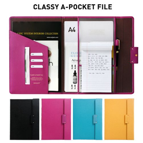 Monopoly Classy A-Pocket File_Faux Leather Document Folder Organizer