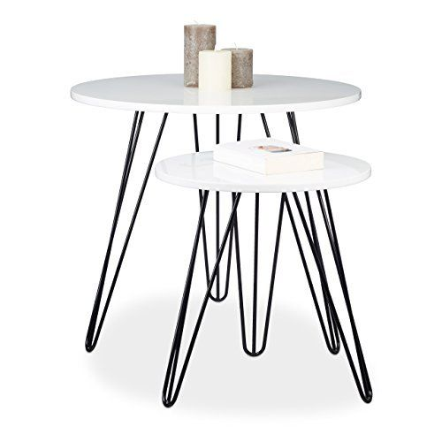 Relaxdays set di 2tavolini, rotondo, 3gambe, legno, metallo, 52x 60cm, tavolino da salotto, soggiorno, lucido, bianco, http://www.amazon.it/dp/B06WD4T927/ref=cm_sw_r_pi_awdl_xs_DCAizbEVNWY49