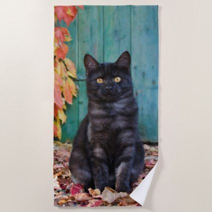 Cute Black Cat Kitten with Red Leaves Blue Door __ Beach Towel - black gifts unique cool diy customize personalize