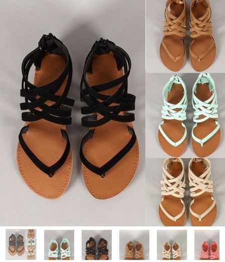 5 Colors Women New Strappy Flat Sandals Summer Bohemian Sandals Casual Shoes This popular sandal is great for the summer. It comes in sizes 4 1/2-10 1/2. Colors: Mint Green, Black, Pink, Brown, Khaki