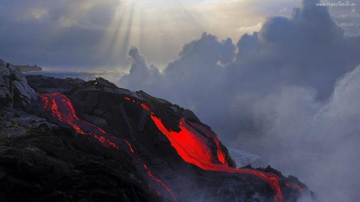 Wulkan, Lawa, Dym, Morze