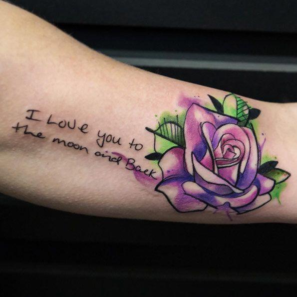 Watercolor Rose Tattoo by Joice Wang