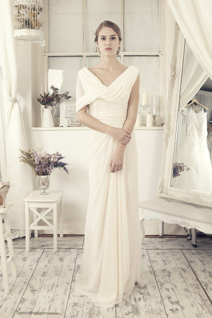 Modish Off-White Chiffon Wedding Dress (80520) - Elliot Claire London