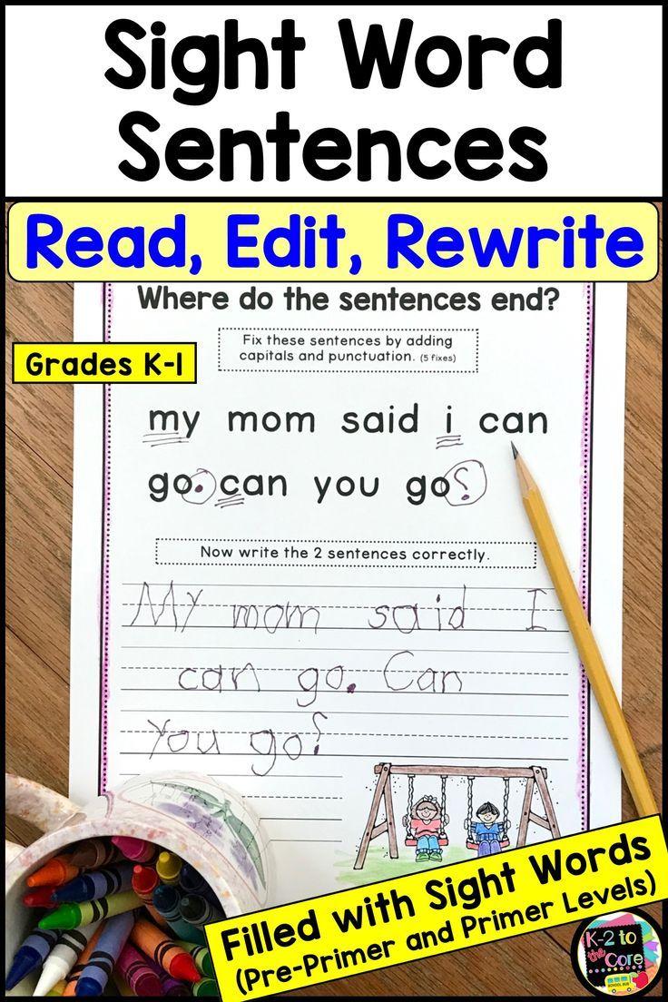 Sight Word Sentences Punctuation And Capitalization For Emergent Readers Sight Words Sight Word Sentences Sight Words Kindergarten [ 1104 x 736 Pixel ]