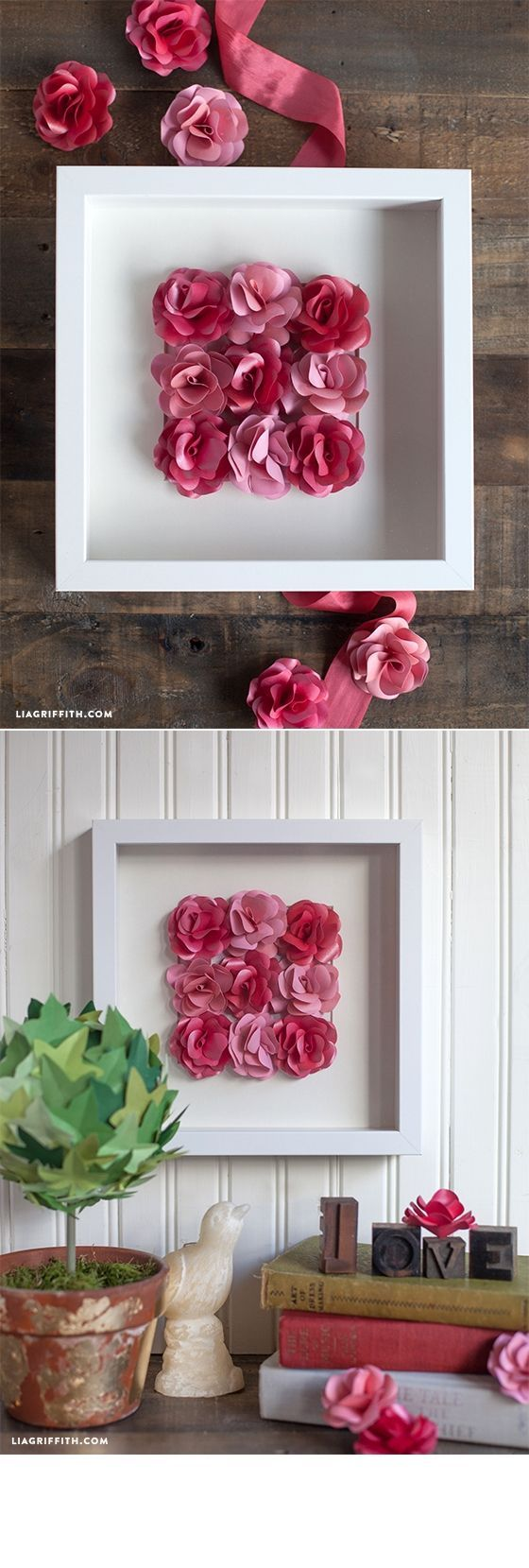 Mini Paper Rose Framed Artwork. For more ideas, inspiration and free printable visit http://www.liagriffith.com