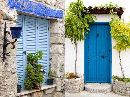 Blue shutters & door. Mediterranean color, Alacati, Turkey