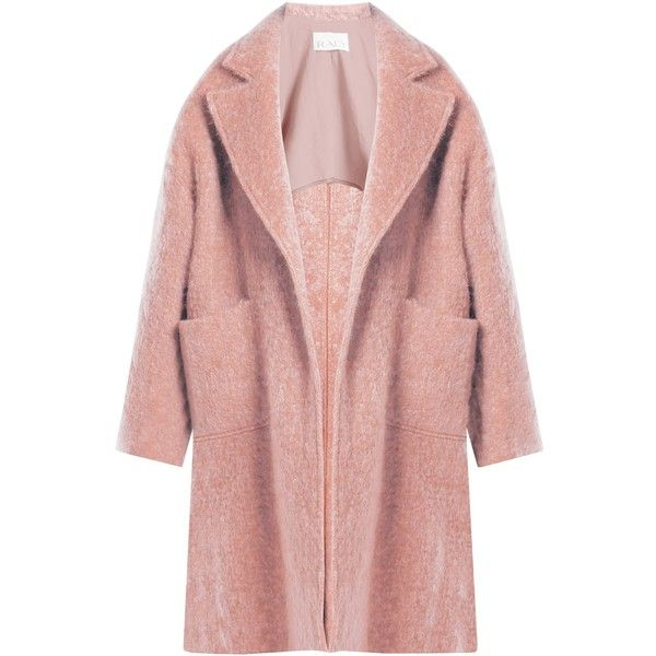 Raey Dropped-shoulder wool-blend blanket coat ($980) ❤ liked on Polyvore featuring outerwear, coats, jackets, pink, slouchy coat, wool blend coat, pink coats, slouch coat and red coat