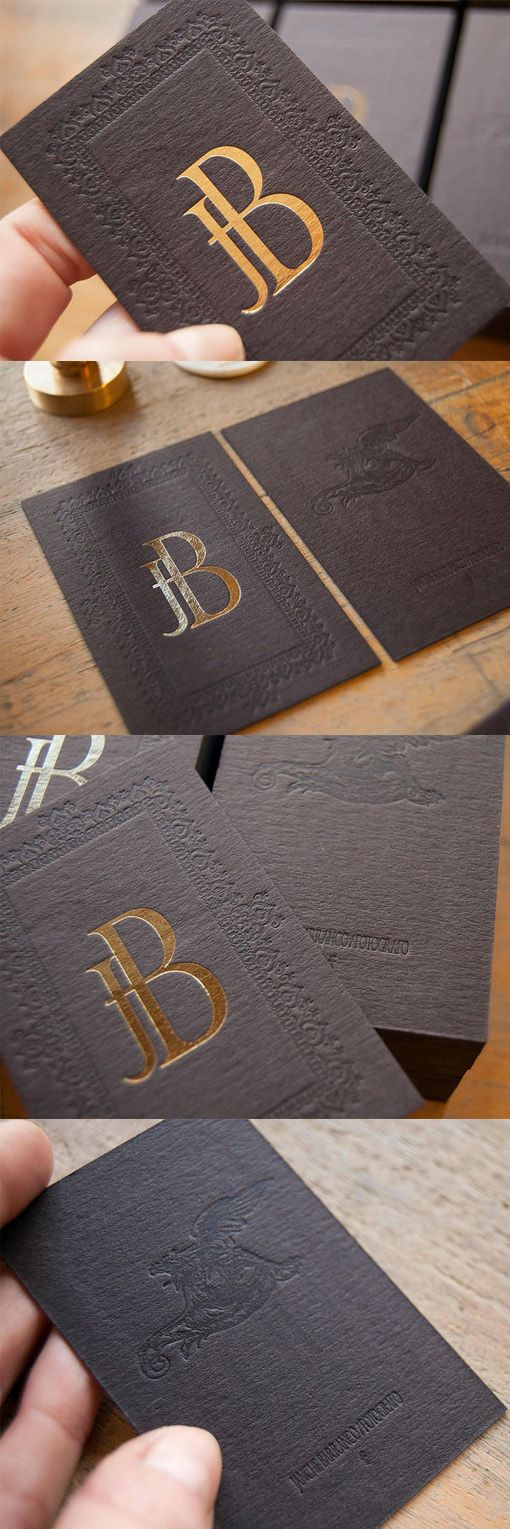 Vintage Styled Gold Foil And Letterpress Business Card For A Photographer
