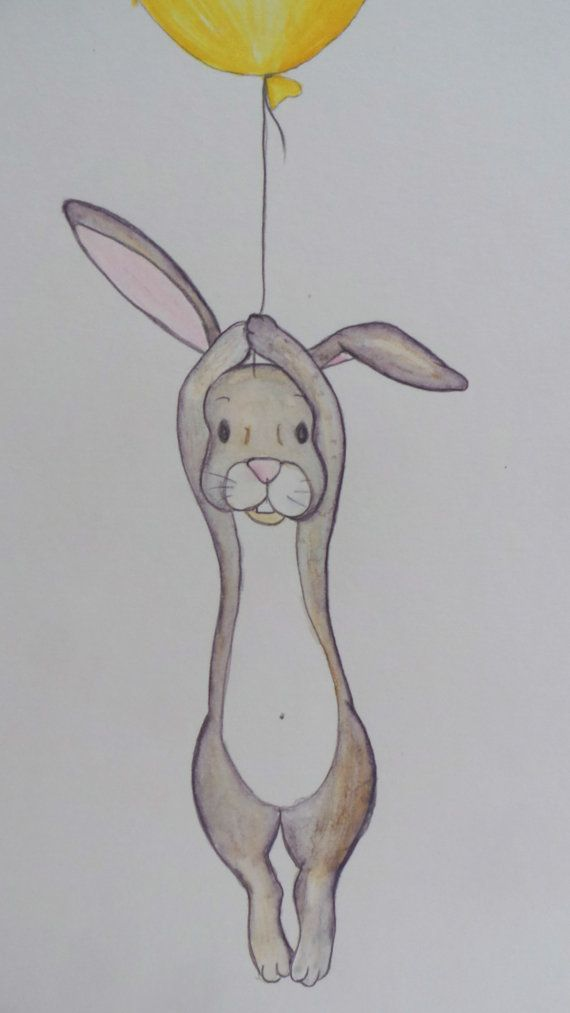 Eine wunderschöne märchenhafte Illustration, Darstellung ein charmanten Kaninchen festhalten an einer schwimmenden gelbe Sprechblase. Wo wird er am Ende? Eine wunderbare ungerahmten Drucken um die Geburt ein neues Baby, Taufe, Namensgebung Tag, einen ersten Geburtstag, Weihnachten oder das perfekte Stück Kunstwerk auf einem Kinderzimmer Wand oder Kinder Schlafzimmer hängen feiern  Diese Abbildung wurde Hand mit Aquarell Bleistifte gezeichnet. Wunderschön im Vereinigten Königreich…