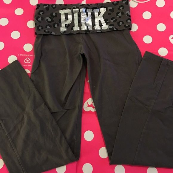 PINK Bling Yoga Pants PINK yoga pant with cheetah print fold over top and silver rhinestone bling logo. EUC PINK Victoria's Secret Pants Boot Cut & Flare