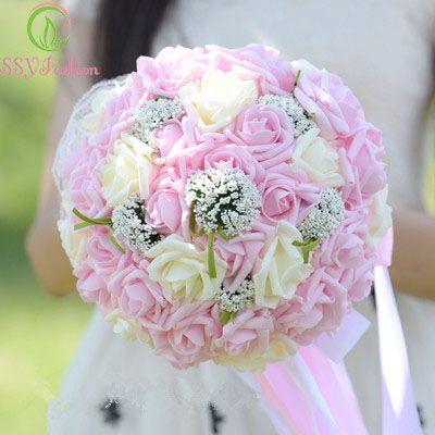 SSYFashion Romantique Rose Fleur Bouquet De Mariée Rose Dentelle Tenant Une Fleur Haut de gamme De Mariage Bouquets Célébration Props Accessoires