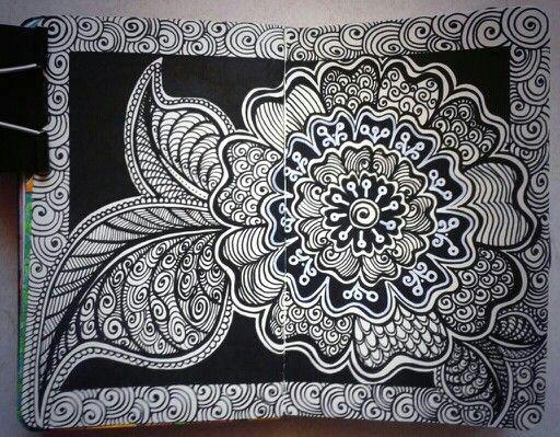 Art journal. Flower zentangles. Pagina Facebook: DOV'È ANDATO IL BIANCONIGLIO?