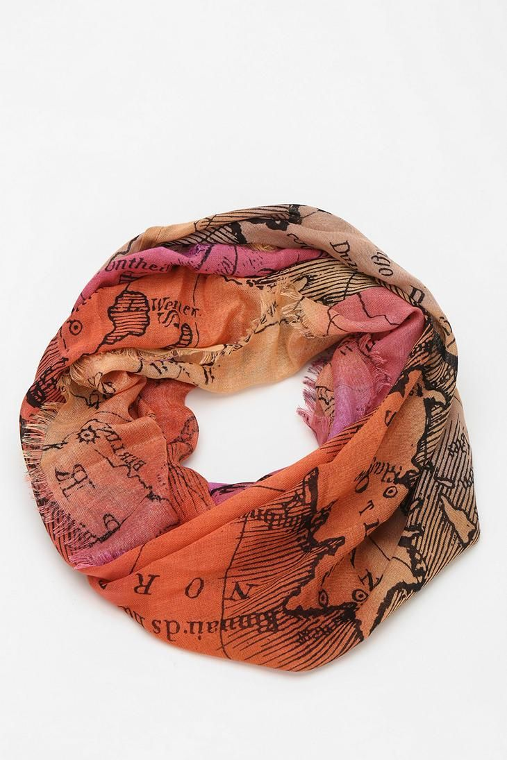 Lightweight woven scarf with an allover map print. #urbanoutfitters