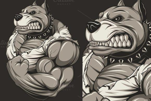 Strong Ferocious Dog Angry Dog Pitbull Drawing Cartoon Style Drawing