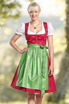 Dirndl von Trachtenmode Hiebaum, rot-grün, klassisch, festlich.