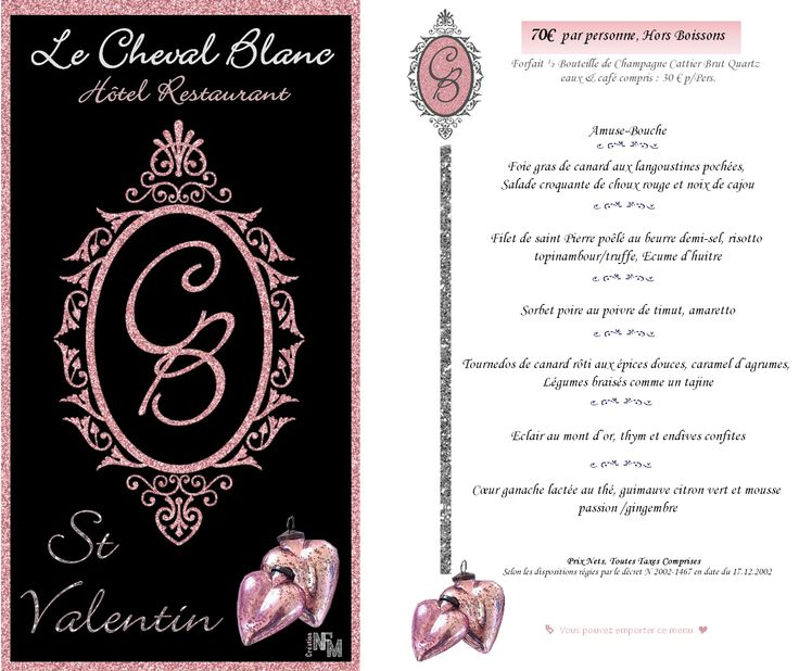 2016 - Menu St Valentin Le Cheval Blanc  made by NFM