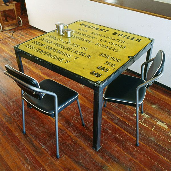 Table made out of an old steel sign. From The Boiler Room