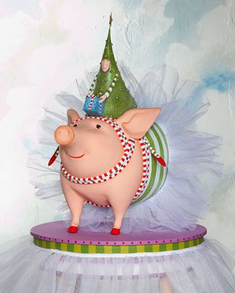 Joyful+Pig+with+Tree+Rider+by+Patience+Brewster+at+Horchow.