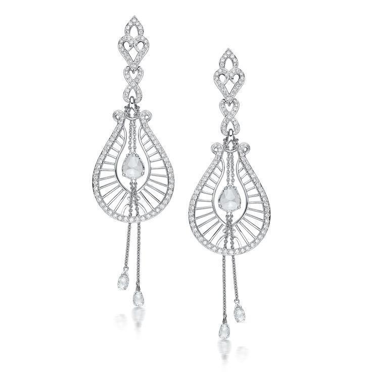 Facets Singapore. Tilda Earrings, 18K White Gold  with Round Brilliant White & Rose Cut Diamonds.