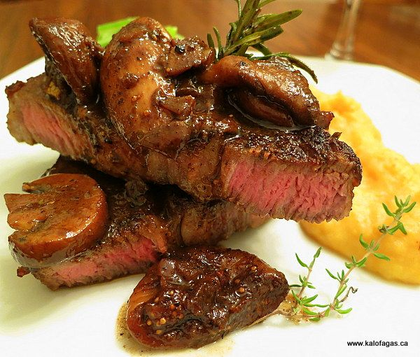 #PEI grass-fed #Ribeye #steak #recipe with Mushroom, Mavrodaphne & Fig Sauce from Peter Minaki. Meat purchased at Brady's Meat & Deli.