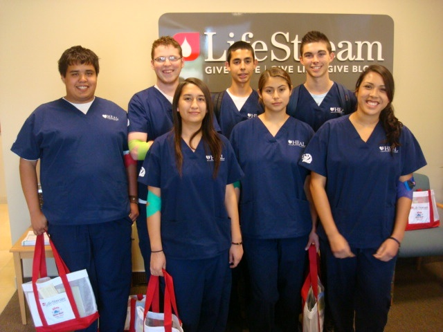 Cathedral City High School Health & Environmental Academy of Learning (HEAL) students stop by to tour and donate blood.