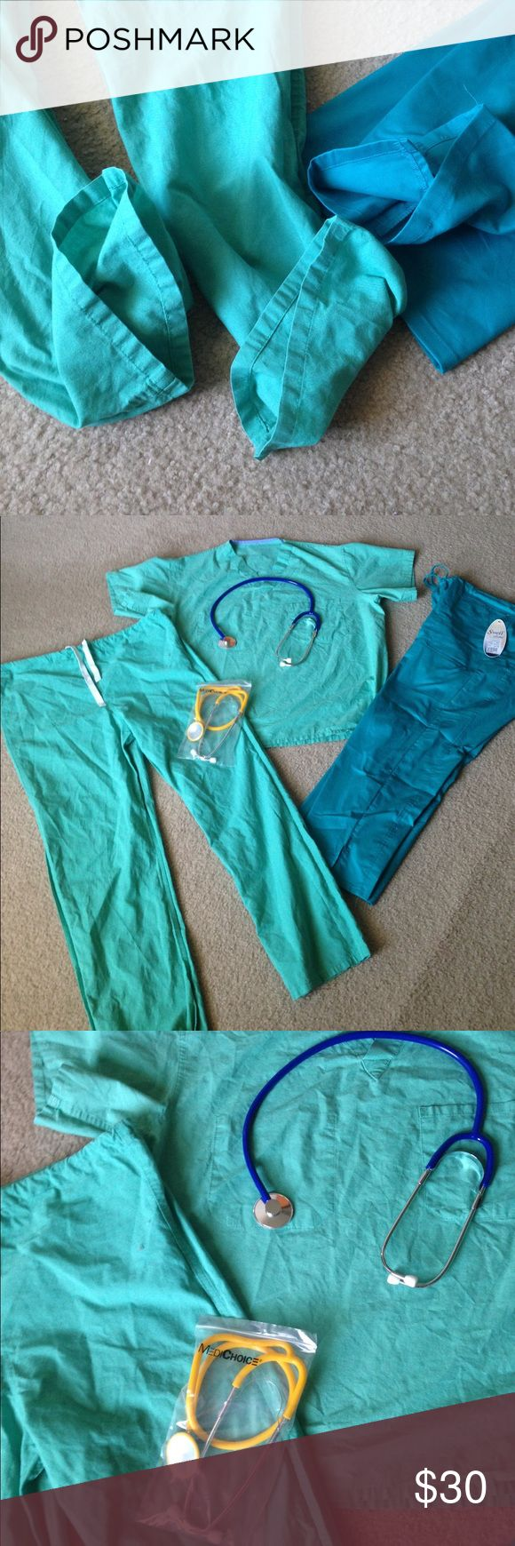 Scrubs Set Medical Scrubs, 1 complete set from Med Line, size small, petite. No holes, rips or stains. 1 pocket removed though on front of shirt, and on back of pants. 2 brand new stethoscopes, 1 yellow, 1 blue. One brand new (NWT) scrub bottoms by Sanibel, size med petite. Selling complete set. Medline Other