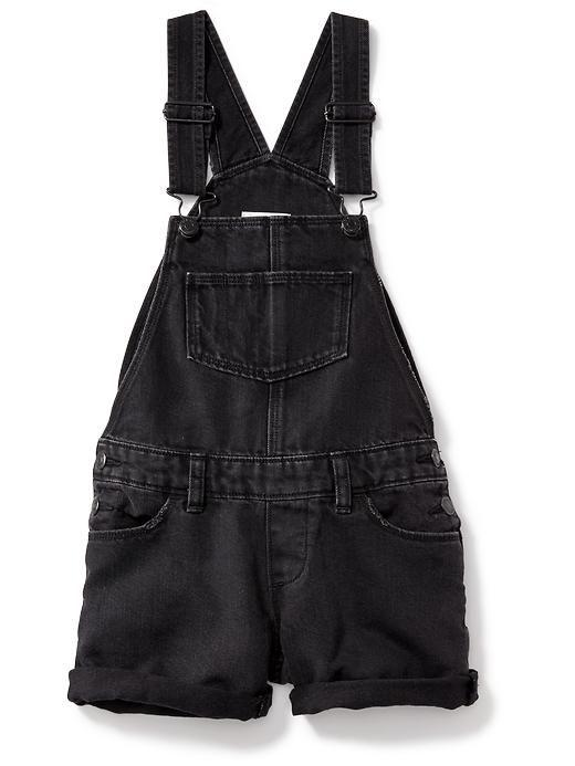 Black Denim Shortalls for Girls