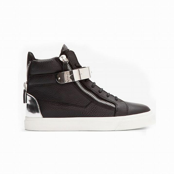 Giuseppe Zanotti Mens High Top Buckle Leather Sneakers In Black Model: gzmenshoes002 580 Units in Stock Manufacturer: Giuseppe Zanotti $770.00 $280.00