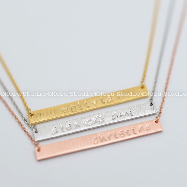 Custom Name Bar Necklace/ Long Skinny Bar Necklace, Hand Stamped Initial Necklace, Personalized Gold Necklace, Birthday Mom Gift NBR003-5 by MoruStudio on Etsy