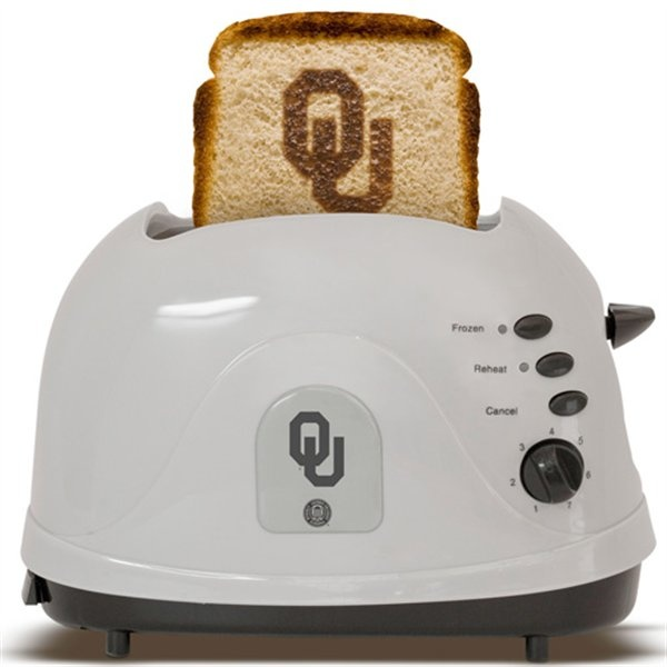 "Oklahoma Sooners Silver Team Logo Pro Toaster $39.95 (One of the features listed: ""Plugs into the wall using a standard electric outlet"". BOOMER SOONER!)"