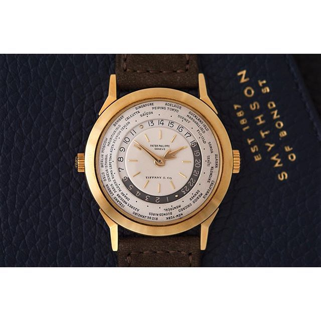 REPOST!!!  The dual crowned Patek Philippe ref. 2523/1 World Time, retailed by Tiffany & Co. The origin of the world time complication dates back to 1931, with a pocket watch which was conceptualised and created by the hands of master watchmaker, Louis Cottier. Cottier, born in 1894, grew up in the small Sardinian town of Carouge and found himself exposed to watchmaking at an early age. His father, Emmanuel, was known as a watchmaker and had a workshop on the rue Saint-Victor, nearby the…