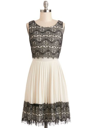 Rockin' Romance Dress by Darling - Tan / Cream, Black, Lace, Pleats, Party, A-line, Sleeveless, Better, Scoop, Sheer, Woven, Mixed Media, La...