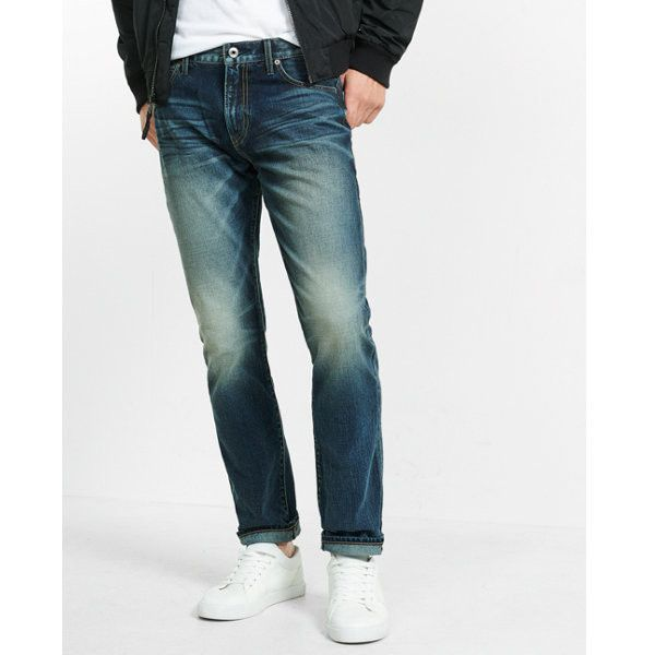 Express Tapered Leg Classic Fit Faded Jeans ($88) ❤ liked on Polyvore featuring men's fashion, men's clothing, men's jeans, blue, mens dark wash jeans, express mens jeans, mens blue jeans, mens jeans and mens tapered leg jeans