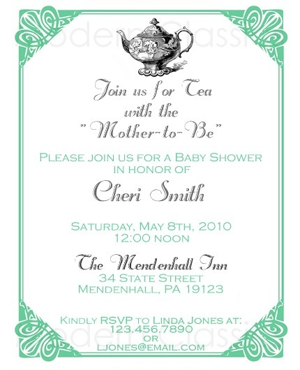 Victorian Tea Baby Shower Invites